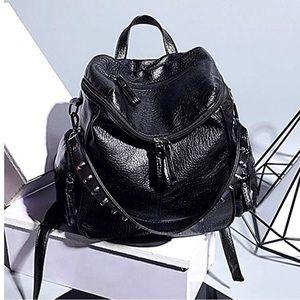 Washed Leather Rivet Studded Rucksack Shoulder Bag